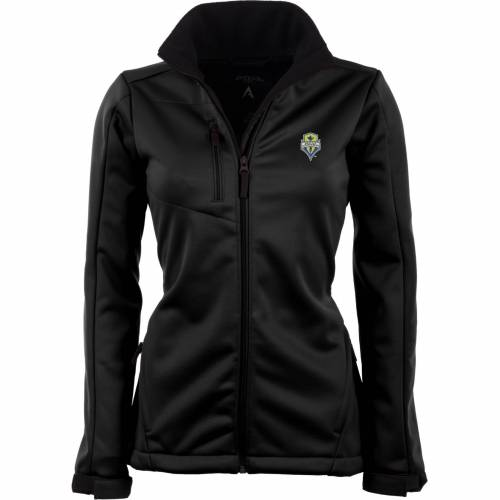ANTIGUA レディース シアトル 黒 ブラック 【 Womens Seattle Sounders Traverse Black Soft-shell Full-zip Jacket 】 Color