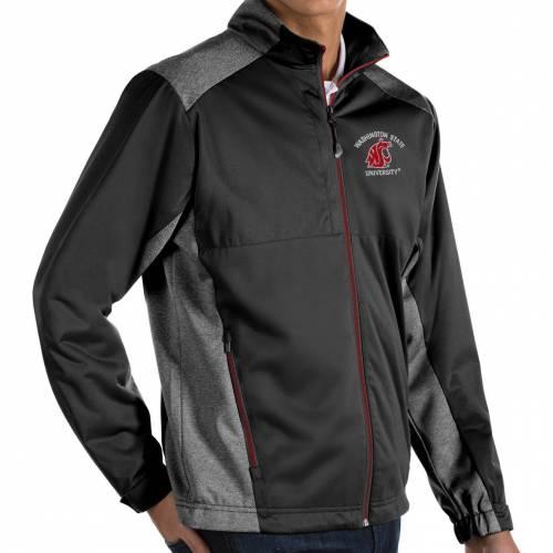 ANTIGUA メンズ ワシントン スケートボード 黒 ブラック メンズファッション コート ジャケット 【 Mens Washington State Cougars Revolve Full-zip Black Jacket 】 Color