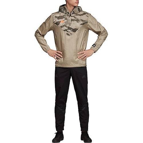 アディダス ADIDAS メンズ ウィンドブレーカー メンズファッション コート ジャケット 【 Mens Tan Adv Windbreaker Jacket 】 Trace Khaki