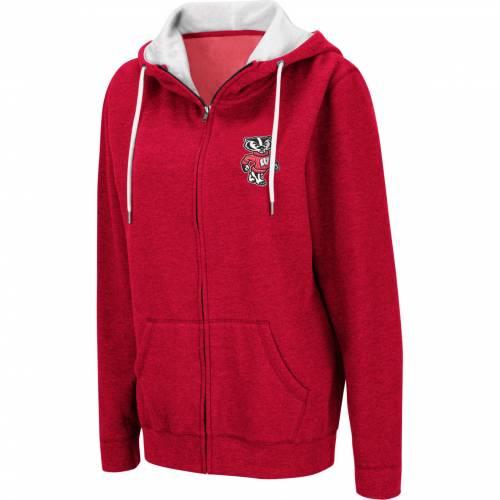 COLOSSEUM レディース ウィスコンシン 赤 レッド レディースファッション トップス パーカー 【 Womens Wisconsin Badgers Red Full-zip Hoodie 】 Color
