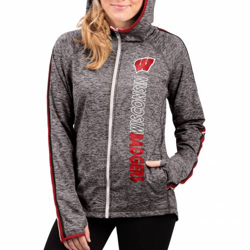 G-III FOR HER レディース ウィスコンシン Gray灰色 グレイ フリー レディースファッション トップス パーカー 【 Womens Wisconsin Badgers Grey Free Agent Full-zip Hoodie 】 Color