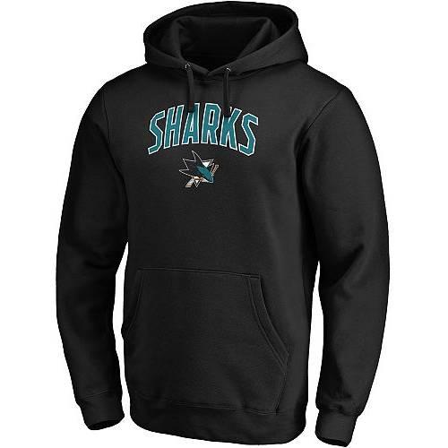 FANATICS メンズ 黒 ブラック メンズファッション トップス パーカー 【 Nhl Mens San Jose Sharks Engage Black Pullover Hoodie 】 Color