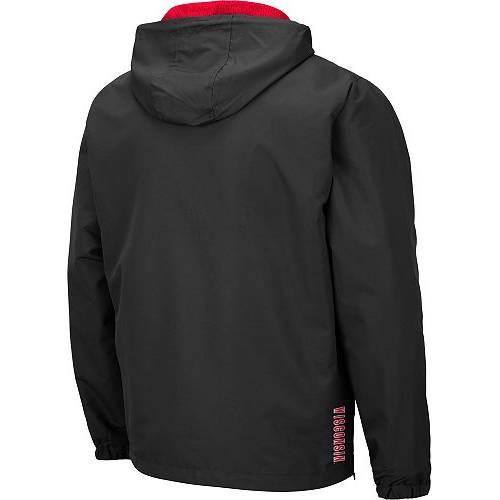 COLOSSEUM メンズ ウィスコンシン Gray灰色 グレイ メンズファッション コート ジャケット 【 Mens Wisconsin Badgers Grey Dolph Half-zip Jacket 】 Color
