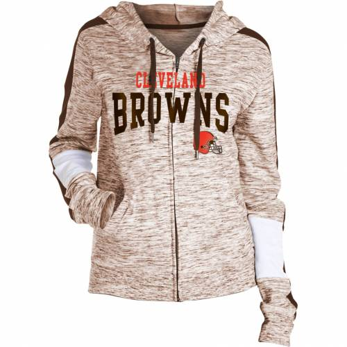 NFL TEAM APPAREL レディース クリーブランド ブラウンズ レディースファッション トップス パーカー 【 Womens Cleveland Browns Space Dye Full-zip Hoodie 】 Color