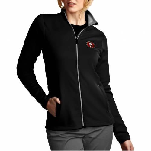【★スーパーセール中★ 6/11深夜2時迄】ANTIGUA レディース フォーティーナイナーズ 黒 ブラック 【 Womens San Francisco 49ers Leader Full-zip Black Jacket 】 Color