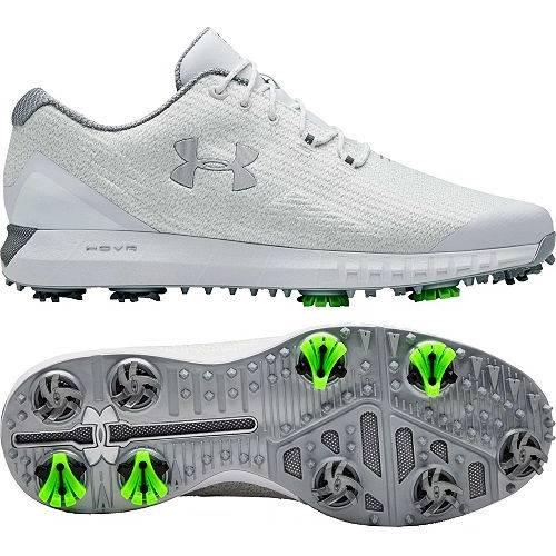アンダーアーマー UNDER ARMOUR メンズ ウーブン ゴルフ スニーカー 運動靴 【 Mens Hovr Drive Woven Golf Shoes 】 White/silver