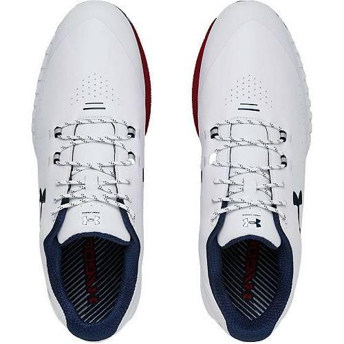 アンダーアーマー UNDER ARMOUR ゴルフ スニーカー 運動靴 白 ホワイト 赤 レッド MEN'S スニーカー 【 GOLF WHITE RED UNDER ARMOUR HOVR DRIVE SHOES 】 メンズ スニーカー