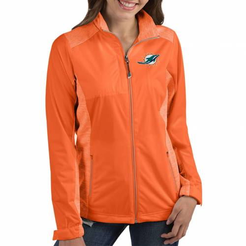 【★スーパーセール中★ 6/11深夜2時迄】ANTIGUA レディース マイアミ ドルフィンズ 橙 オレンジ 【 Womens Miami Dolphins Revolve Orange Full-zip Jacket 】 Color