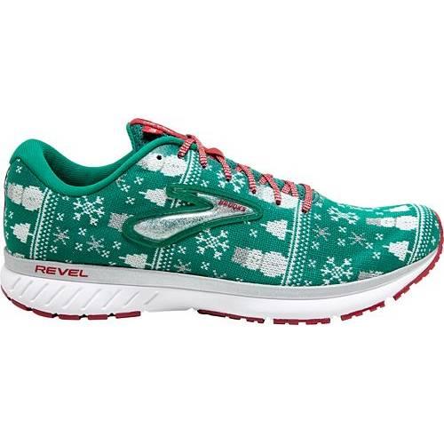 ブルックス BROOKS ラン スニーカー 運動靴 緑 グリーン 赤 レッド MEN'S スニーカー 【 GREEN RED BROOKS REVEL 3 RUN MERRY RUNNING SHOES 】 メンズ スニーカー