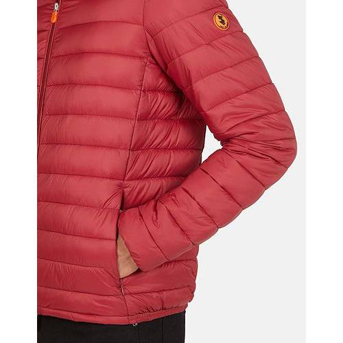 SAVE THE DUCK 赤 レッド MEN'S 【 RED SAVE THE DUCK PUFFER JACKET MINERAL 】 メンズファッション コート ジャケット