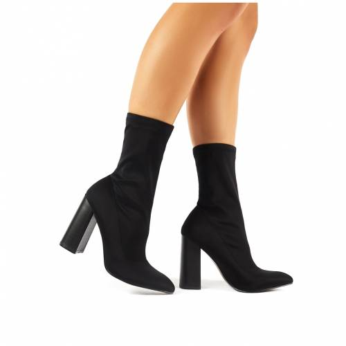 PUBLIC DESIRE 黒 ブラック レディース 【 Libby Flared Heel Sock Fit Ankle Boots In Black Stretch 】 Black