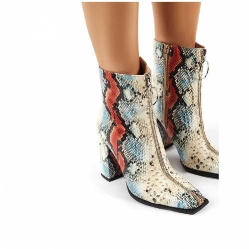 PUBLIC DESIRE レディース 【 Payback Multi Snakeskin Zip Up Block Heeled Ankle Boots 】 Multi