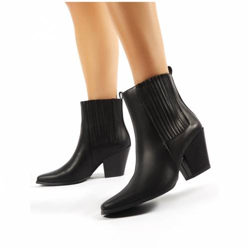 PUBLIC DESIRE 黒 ブラック レディース 【 Hazy Black Block Heeled Ankle Boots 】 Black