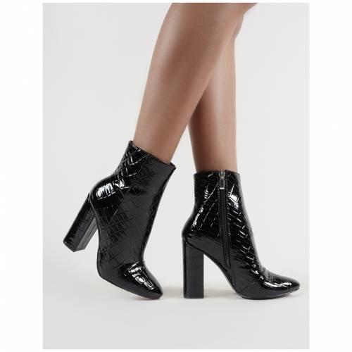 PUBLIC DESIRE 黒 ブラック レディース 【 Presley Ankle Boots In Black Croc 】 Black
