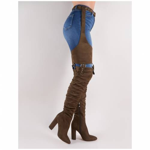 PUBLIC DESIRE カーキ スエード スウェード レディース 【 Sterling Belted Over The Knee Boots In Khaki Faux Suede 】 Green