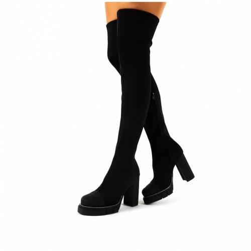 PUBLIC DESIRE 黒 ブラック レディース 【 Critic Black Block Heeled Platform Over The Knee Boots 】 Black
