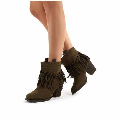PUBLIC DESIRE カーキ スエード スウェード レディース 【 Jossa Khaki Faux Suede Fringed Heeled Western Ankle Boots 】 Green