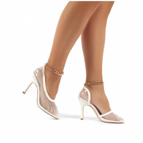 PUBLIC DESIRE 白 ホワイト ハイ  レディース 【 Odyssey White Chain Detail Fishnet High Heels 】 White:スニケス