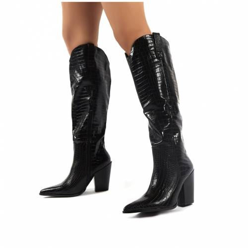 PUBLIC DESIRE 黒 ブラック ハイ レディース 【 Grenade Black Croc Western Heeled Knee High Boots 】 Black