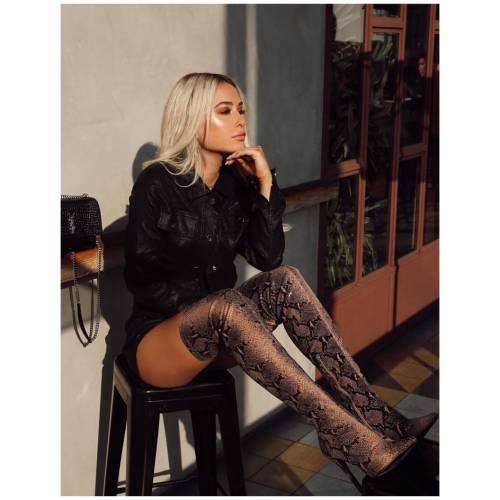 PUBLIC DESIRE レディース 【 Kimana Tan Snakeskin Heeled Over The Knee Boots 】 Multi