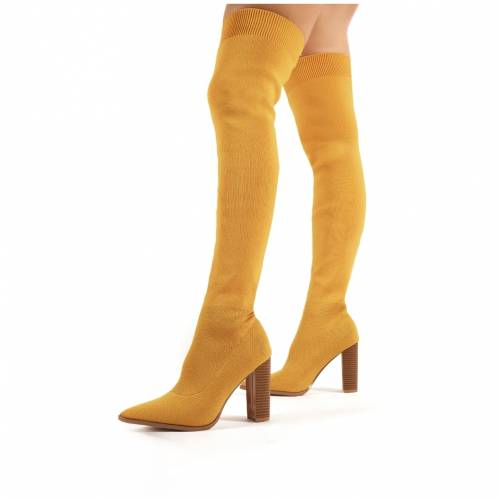 PUBLIC DESIRE レディース 【 Romee Mustard Knitted Block Heeled Over The Knee Boots 】 Yellow