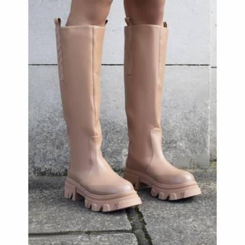 ファッションブランド カジュアル ファッション スニーカー パブリックディザイア PUBLIC DESIRE ハイ CHUNKY GENIUS TAN ブーツ HIGH SOLE スーパーSALE 2020春夏新作 セール期間限定 BOOTS KNEE