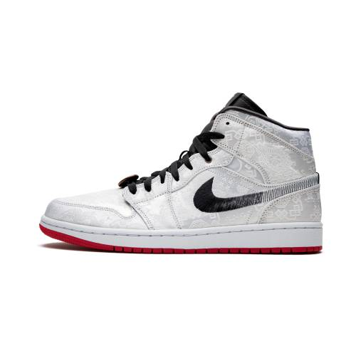 "ナイキ ジョーダン JORDAN エア Mid""fearless Silk"" スニーカー メンズ 【 Air 1 Mid""fearless Edison Chen - Clot Silk"" 】 Silver/black-red"