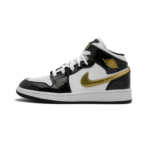 "ナイキ ジョーダン JORDAN エア ミッド パテント ""black Leather"" スニーカー メンズ 【 Air 1 Mid Se (gs)""black Gold Patent Leather"" 】 Black/metallic Gold-white"