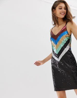 【海外限定】ドレス スリッポン レディース靴 【 WAREHOUSE SLIP DRESS IN CHEVRON RAINBOW SEQUIN 】