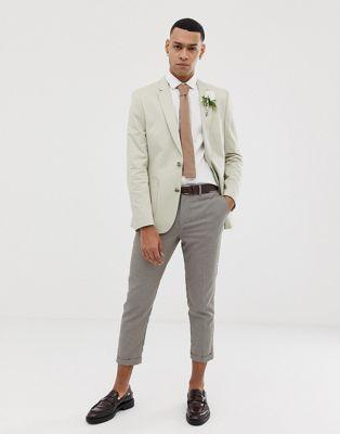 ブレーザー ブレイザー メンズファッション コート ジャケット 【 ASOS DESIGN WEDDING SKINNY BLAZER IN STONE COTTON 】