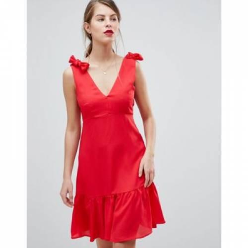 ドレス レディースファッション ワンピース 【 VILA PEPLUM HEM MINI DRESS WITH BOW DETAIL STRAPS 】