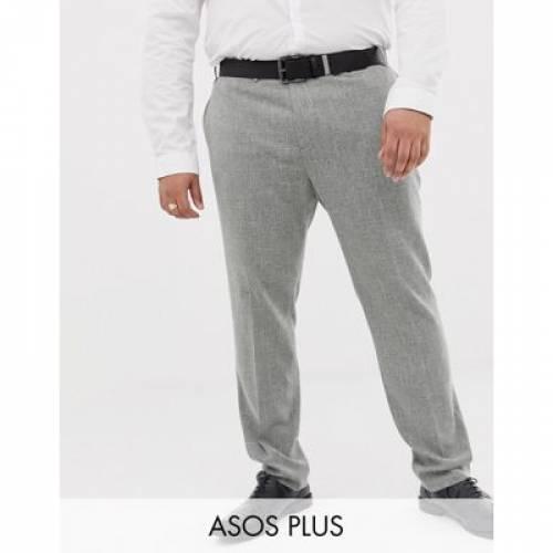 GRAY灰色 グレイ メンズファッション ズボン パンツ 【 GREY ASOS DESIGN PLUS WEDDING SKINNY SUIT TROUSERS IN CROSS HATCH 】