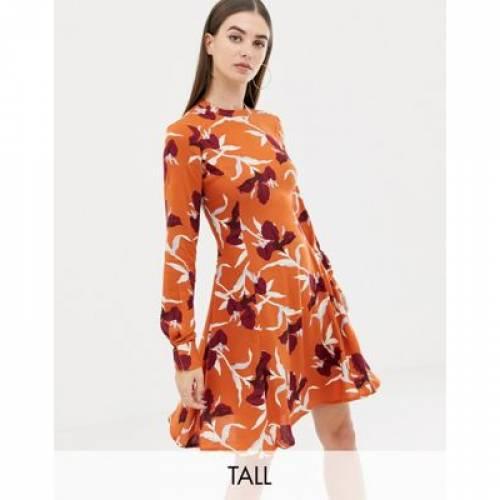 ハイ ドレス 橙 オレンジ Y.A.S レディースファッション ワンピース 【 ORANGE TALL HIGH NECK MINI DRESS IN 】