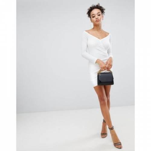 ラップ ドレス 白 ホワイト レディースファッション ワンピース 【 WRAP WHITE BOOHOO KNITTED MINI DRESS IN 】