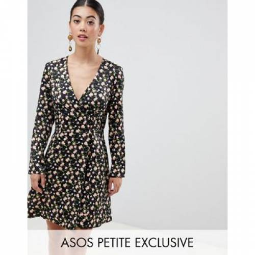 ドレス レディースファッション ワンピース 【 ASOS DESIGN PETITE JACQUARD MINI SKATER DRESS WITH BUTTONS AND LONG SLEEVES 】