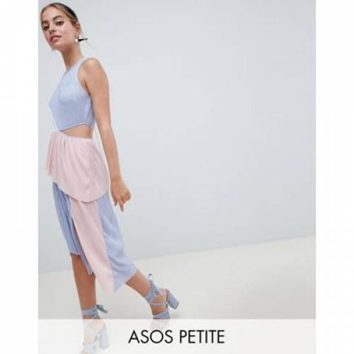 ドレス レディースファッション ワンピース 【 ASOS DESIGN PETITE COLOUR BLOCK PLISSE DRESS 】