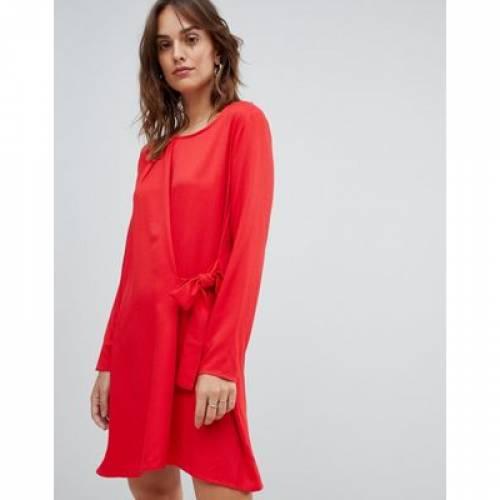 ラップ ドレス 赤 レッド レディースファッション ワンピース 【 WRAP RED VILA KNOT FRONT MINI DRESS IN 】