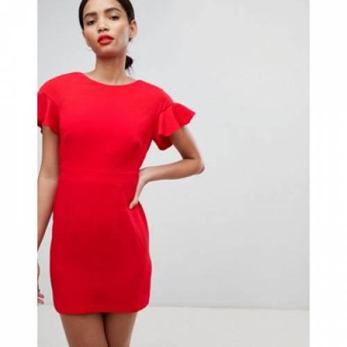 ドレス スリーブ レディースファッション ワンピース 【 SLEEVE ASOS DESIGN MINI WIGGLE DRESS WITH FLUTED 】