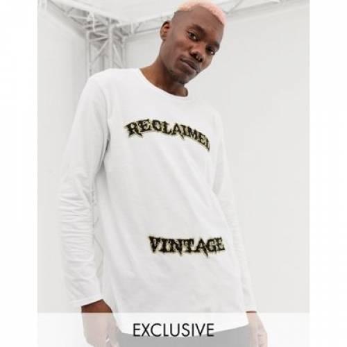 【海外限定】ビンテージ ヴィンテージ ロゴ スリーブ Tシャツ 白 ホワイト メンズファッション トップス カットソー 【 VINTAGE SLEEVE WHITE RECLAIMED INSPIRED VARSITY LOGO LONG TSHIRT IN 】