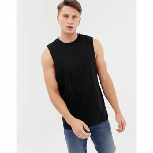 【海外限定】ノンスリーブ Tシャツ 黒 ブラック メンズファッション トップス タンクトップ 【 SLEEVELESS BLACK ASOS DESIGN ORGANIC RELAXED TSHIRT WITH DROPPED ARMHOLE IN 】