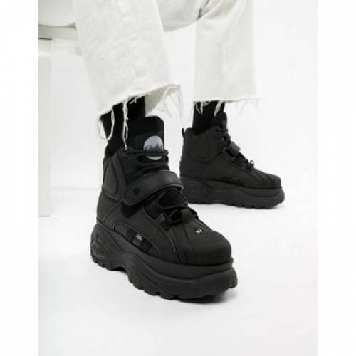 バッファロー クラシック 黒 ブラック メンズ スニーカー 【 BLACK BUFFALO CLASSIC HI TOP CHUNKY SOLE TRAINERS IN 】