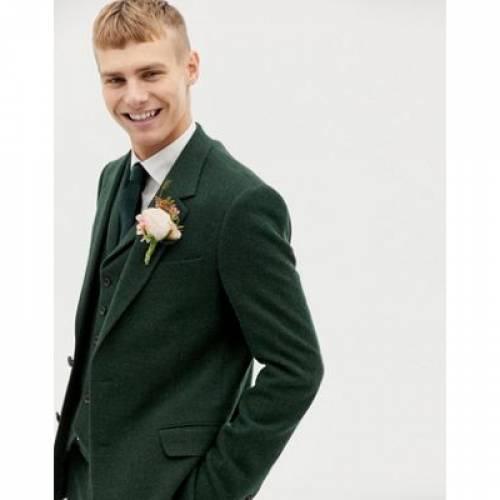 スリム 緑 グリーン メンズファッション コート ジャケット 【 SLIM GREEN ASOS DESIGN WEDDING SUIT JACKET IN WOOL MIX HERRINGBONE 】 ※セットアップではありません