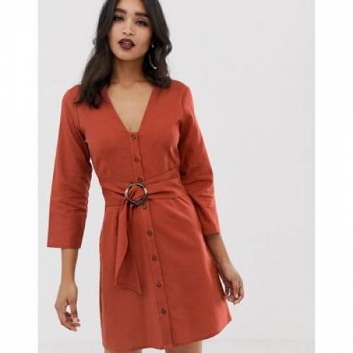 ドレス ベルト レディースファッション ワンピース 【 ASOS DESIGN CASUAL BUTTON THROUGH MINI DRESS WITH BELT DETAIL 】