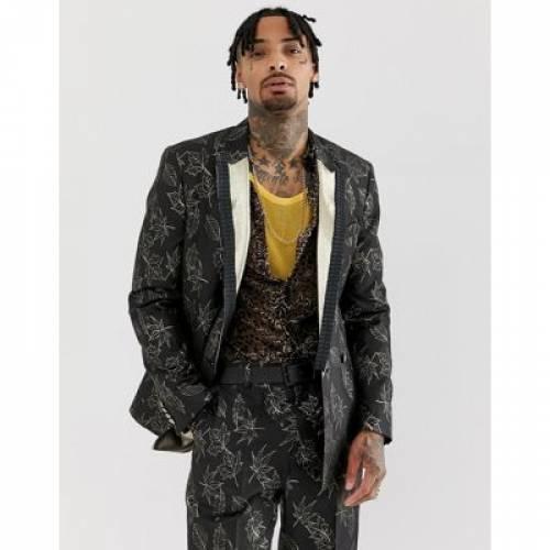 スリム 黒 ブラック メンズファッション コート ジャケット 【 SLIM BLACK ASOS EDITION SUIT JACKET IN GOLD AND FLORAL JACQUARD 】 ※セットアップではありません