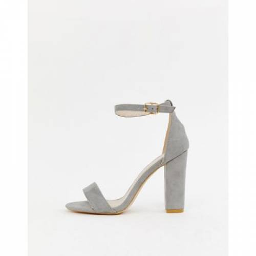 GRAY灰色 グレイ 【 GREY GLAMOROUS BARELY THERE BLOCK HEELED SANDALS 】