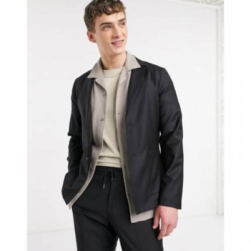 スリム 黒 ブラック 100% メンズファッション コート ジャケット 【 SLIM BLACK ASOS DESIGN SOFT TAILORED SUIT JACKET IN WOOL 】 ※セットアップではありません