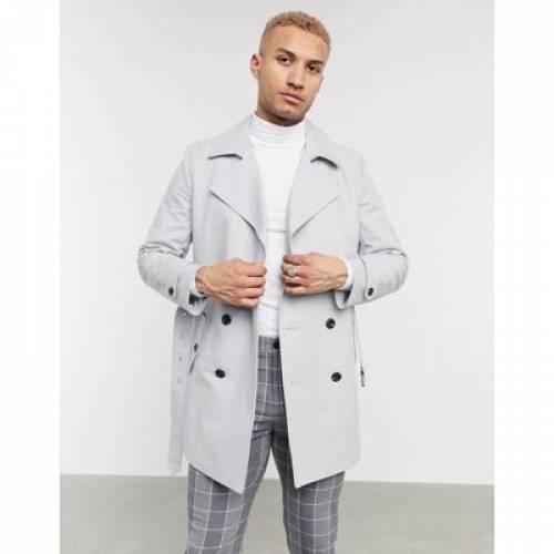 ベルト 灰色 グレ メンズファッション コート ジャケット 【 ASOS DESIGN DOUBLE BREASTED TRENCH COAT WITH BELT IN GREY 】