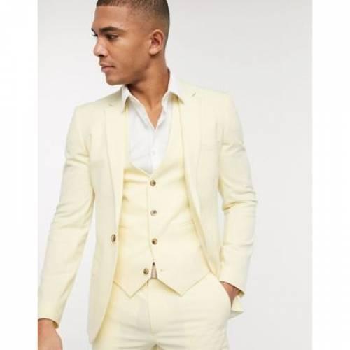 黄色 イエロー メンズファッション コート ジャケット 【 YELLOW ASOS DESIGN SUPER SKINNY SUIT JACKET IN LEMON 】 ※セットアップではありません