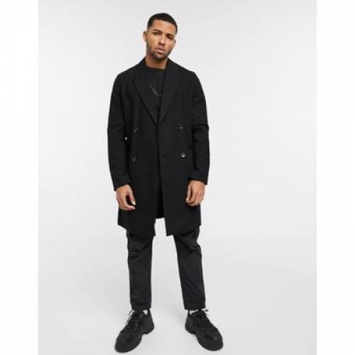 黒 ブラック メンズファッション コート ジャケット 【 BLACK ASOS DESIGN COAT IN COTTON LINEN MIX 】