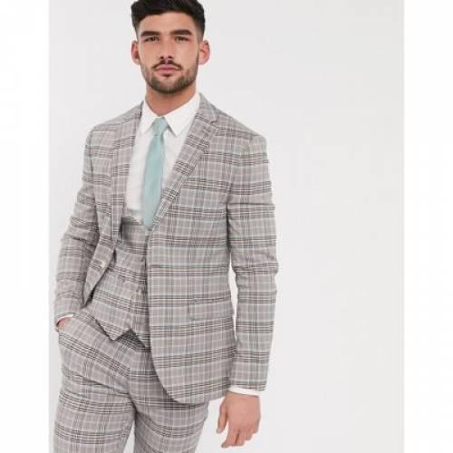 メンズファッション コート ジャケット 【 TOPMAN SKINNY FIT CHECKED SUIT JACKET IN BEIGE 】 ※セットアップではありません